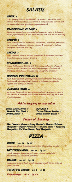 Greek Village Lunch & Dinner Menu - Page 5